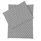 Sugarapple Little Puppenbettwäsche grau mit weißen Sternen für Puppen Größe 36 cm - 44 cm, Öko Tex Standard