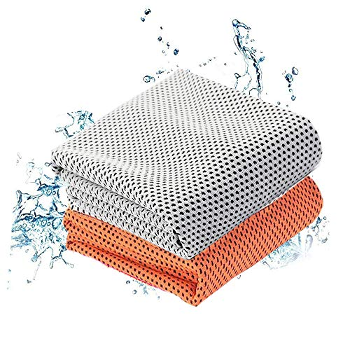 HyAdierTech Asciugamano Microfibra Set 2 Pezzi, Asciugamano Raffreddamento, Istantaneo Freddo Ghiaccio Asciugamano, Sportivo Asciugatura Rapida Gym Sciarpa Towel per l'escursione Golf Corsa Yoga (B)
