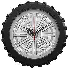 QAQ Reloj De Pared ABS Movimiento De Barrido Silencioso Forma De Neumático Redondo Creativo,Silver