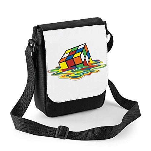Mini borsa a tracolla Cubo di Rubik - Rubiks Cube - humor - idea regalo -tracolla regolabile - misura 18x22 cm Bianco