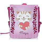 Kinder-Rucksack mit Namen Maya und süßem Katzen-Motiv mit Herzen für Mädchen