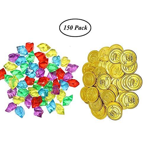SAIYU 75 Stück Piraten Goldmünzen und 75 Stück Piraten Edelsteine Kunststoff Münzen Acryl Diamanten Schmuck Fake Play Schatz Münzen Set für Party Gefallen