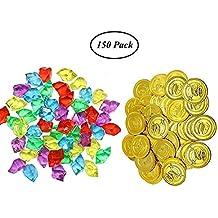 SAIYU 75 Piezas Monedas de Oro Piratas y 75 Piezas Gemas de Piratas Monedas de Plástico