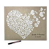 KATINGA Personalisierbare Leinwand Herzen zur Hochzeit - ALS Gästebuch für Unterschriften (40x50cm, inkl. Stift) (Personalisiert)