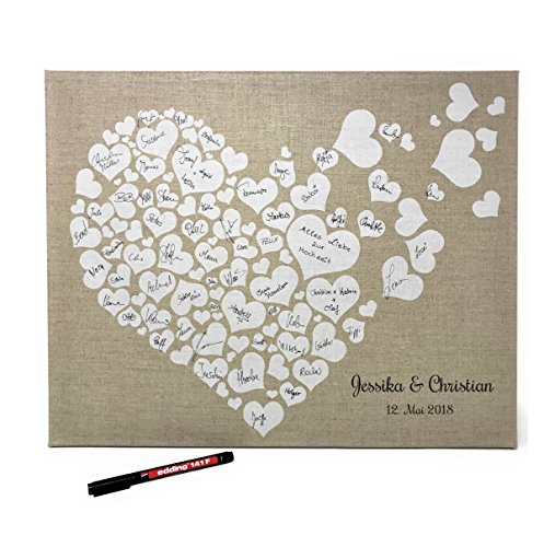 KATINGA Personalisierbare Leinwand Herzen zur Hochzeit - als Gästebuch für Unterschriften (40x50cm, inkl. Stift) (Personalisiert) (Hochzeit Gästebuch Personalisierte)