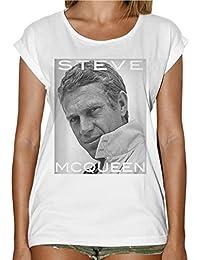 b5f608b8cd7c41 thedifferent T-Shirt Femme Fashion Steve Mcqueen Regard – Blanc