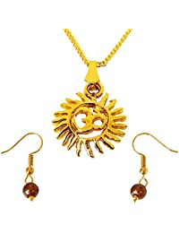 Surat Diamonds Sun Filled Rays Om Gold Plated Religious Pendant And Brown Shell Pearl Wire Earring Set For Women...