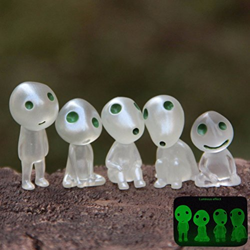 jettingbuy Prinzessin Mononoke Luminous Baum Elfen Puppe Ornament Micro Landschaft, 6pcs/set
