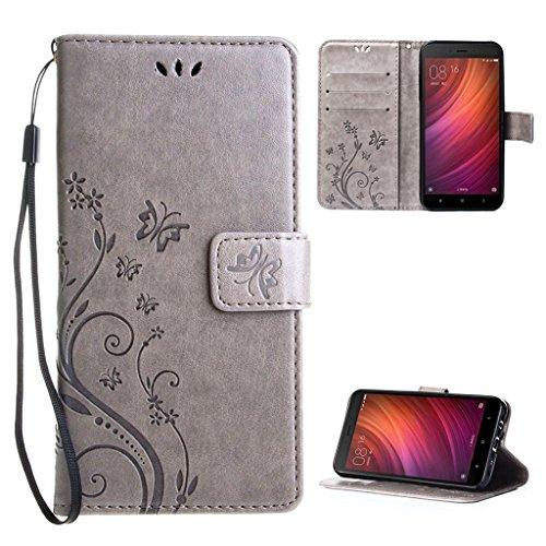Xiaomi Redmi Note 4 Funda Gris , Leathlux Libro Suave PU Leather...