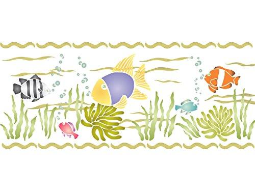 Tropische Fische Schablone–30,5x 12,5cm–wiederverwendbar Sea Ocean Nautische Seashore Reef Grenze Wand Schablone–Beste...