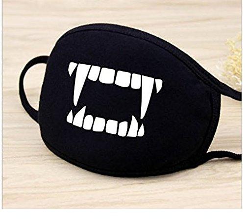 Sunei.f Gesicht Mund Maske Anti Staub Wind Cut Fangs Muster Unisex Fashion Earloop Gesichtsmaske für Jugendliche Männer Frauen Outdoor Radfahren Sport im Sommer Dünn Schwarz | 06084818309191