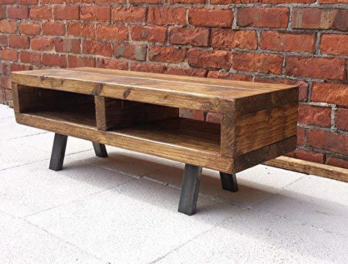 Red cottage furniture Modernes Massivholz Lowboard mit Industrie-Stil Beine 90cm -