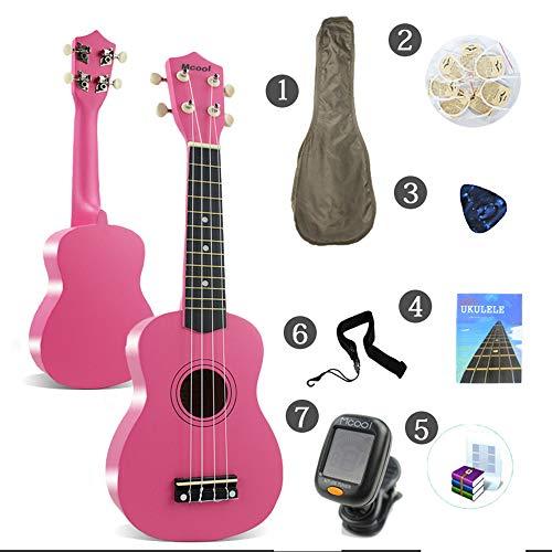 LCDY Ukulele Guitarra de 21 Pulgadas Entrada De Ukelele para Guitarra Principiante Estudiante Adulto Guitarra Pequeña,Pink,58 * 21 * 8CM
