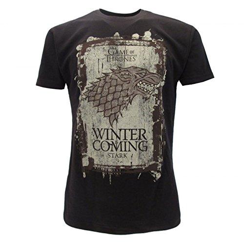 Games of thrones t-shirt originale house stark nera winter is coming trono di spade con cartellino ed etichetta di originalità maglia maglietta (l adulto)