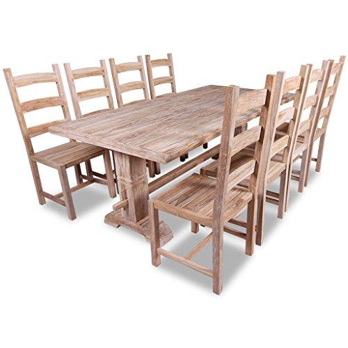 Festnight 9 Pezzi Set Grande Tavolo e Sedie Sala da Pranzo/tavolo cucina  con sedie in Teak
