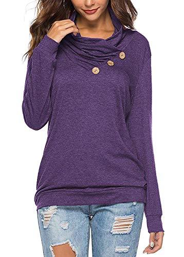 KISSMODA Damen Button Cowl Plissee Neck Tunika Sweatshirt Lila Medium - Lila Tunika Pullover