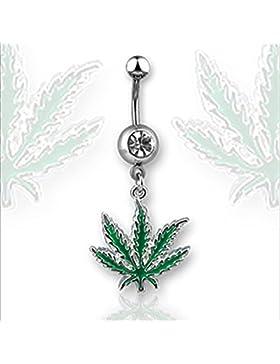 14Gauge jamaikanischen Pot Leaf baumeln Kristall Nabel Bauch Ring Bar grün (grün)
