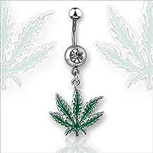 Richbest Piercing de barra para ombligo, calibre 14, diseño de hoja de marihuana con cristal, color verde