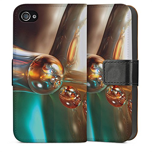 Apple iPhone 4 Housse Étui Silicone Coque Protection Bulles Bulles Chrome Sideflip Sac
