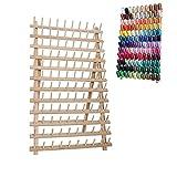 ROSENICE Supporto per bobine di fili da cucire in legno pieghevole e regalabile con 120 PEZZI