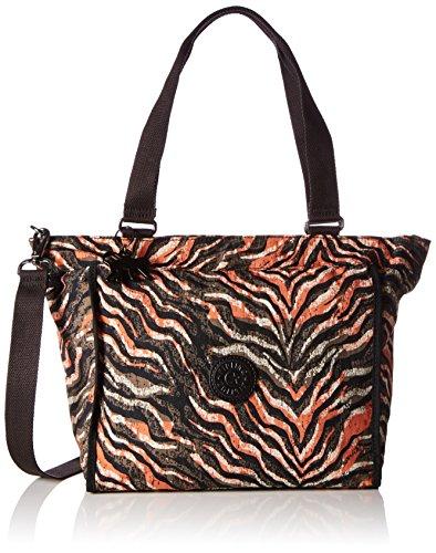 Kipling NEW SHOPPER S K16640H74 Damen Schultertaschen 42x27x13 cm (B x H x T), Mehrfarbig (Pink Animal Pr H74) (Nylon Zebra Handtasche)