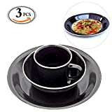 Travelmall 3 PCS Black Enamel Camping Picnic Dining Set Plate Mug Bowl Enamel Cereal Bowls Travel and Camping Cutlery Set for 1 Person(3pcs-Black)