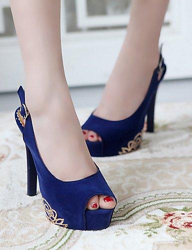UWSZZ IL Sandali eleganti comfort Scarpe Donna-Sandali / Scarpe col tacco-Ufficio e lavoro / Formale / Casual-Tacchi / Spuntate / Plateau-A stiletto-Finta pelle-Nero / Blu Red