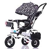 Kind Indoor Outdoor Kleine Dreirad Fahrrad Boy's Bike Girl's Bike für 8 Monate - 6 Jahre Old Baby Drei Räder Trolley mit Markise, Aufblasbare Rad / Drehen Sitz / Dämpfung / Faltbar, Schwarz