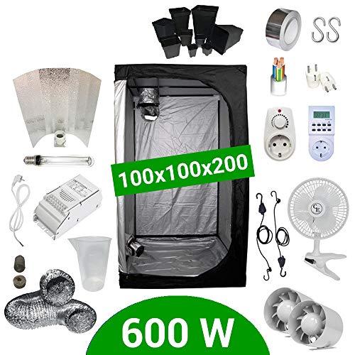 Kit Coltivazione Indoor 600W HPS Adjust-a-Wings - Grow Box 100x100x200 - Alimentatore ETI 1