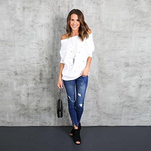 Overdose,Femme Top Style Bardot éPaules DéNudéEs Manches Longue T-Shirt Loose Casual Blouse Blanc