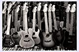 BHXINGMU Murale Black And White Guitars Carta Da Parati 3D 3D Wallpaper Per Cameretta,150Cm(H)×200Cm(W)
