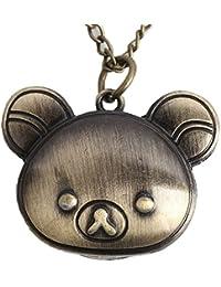 Maybesky Creativo Little Bear Head Pequeño Colgante Vintage Clamshelled Reloj de Bolsillo con Cadena Caja de Regalo para cumpleaños Aniversario día Nav