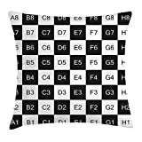 OQUYCZ Checkers Game Throw Pillow Cushion Cover, Monochrome Chess Board Design with Tile Coordinates Mosaic Square Pattern, Decorative Square Accent Pillow Case, 18 X 18 Inches, Black White