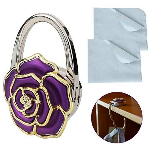 OOTSR Faltbarer Handtaschenhalter-Geldbeutelhaken mit Reinigungstuch, Faltbarer Handtaschenhalterung Damen-Taschenhalter Lady Charm-Handtaschengeldbeutel mit Rosenform-Handtaschenhalter für den Tisch