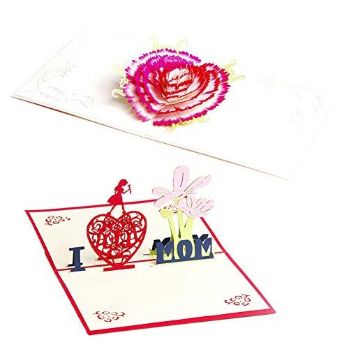 ignislife Papierbasteln 3D Pop up Grußkarten Pack Alle Gelegenheit Karten 5Designs Mother's Day#2 (Valentines Day Pack Von Karten)
