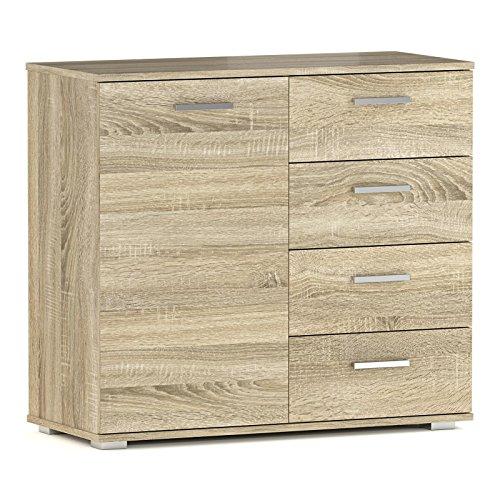 CARO-Möbel Kommode Sideboard Schrank Chicago in Sonoma Eiche, mit Tür und 4 Schubladen Highboard - Schublade, Breite Kommode