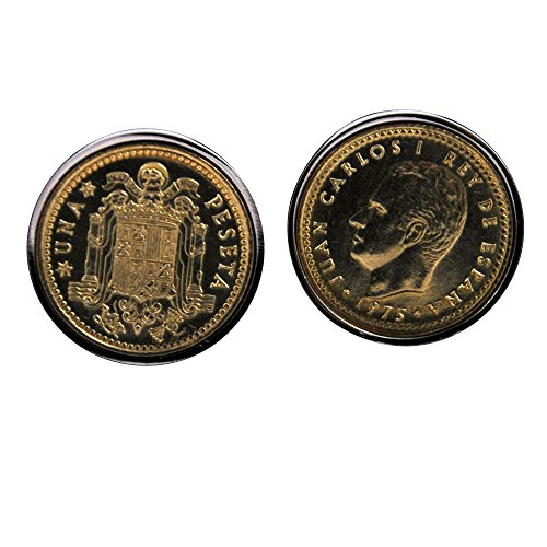Gemelli Spagna 1Peseta cufflinks- Testa e tails-genuine monete