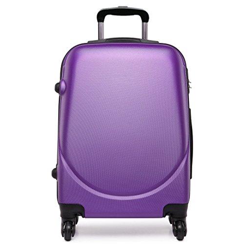 Kono Trolley ABS bagaglio a mano Valigia rigida con 4 ruote,Ideale a bordo di Ryanair, Alitalia (Viola)