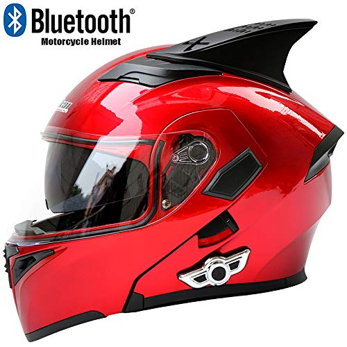 XINKUIN Jujube Red Multifunktions-Bluetooth-Motorradhelm, Fashion Locomotive ATV Cross Country-Mountainbike-Rennen Ausdauer-Rennhelm DOT Certified Full Helmet,XXL63cm~64cm -