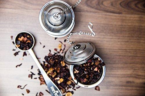 meitea - Tee-Ei Edelstahl Teefilter (2er Set) mit Abtropfschale und Teelöffel - hochwertiges Teesieb & Teekugel - 3