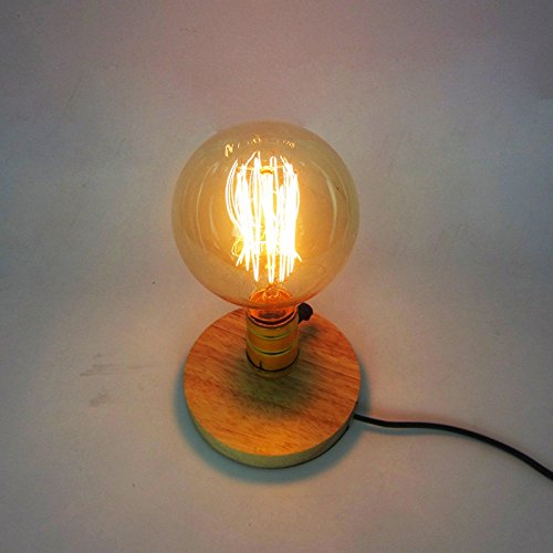 KMYX Vintage Lampe De Table Nature Bois Base E27 Lumière Moderne Lecture Loft Industriel Bureau Lumière pour L'étude Chambre Salon Salle de Travail Gradateur