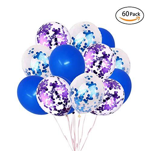 TOPHOPE 60 Stück Blau Konfetti Ballon Premium Latex Glitter Ballons für für Hochzeit Mädchen Kinder Geburtstag Party Valentinstag Deko (12 Zoll/30cm) (Luftballons Lila Blaue Und)