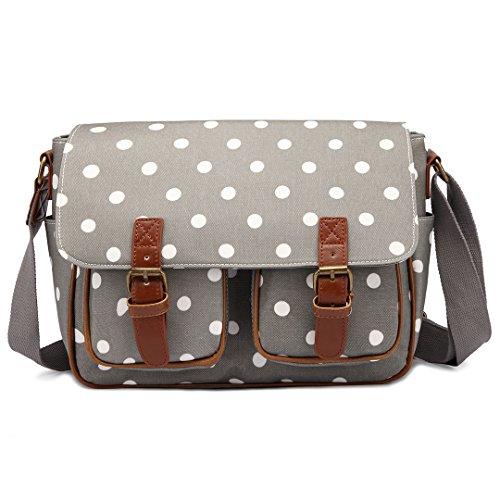 Miss LuLu Wachstuch Tasche Umhängetasche Schultasche Messenger Bag mit vielen Drucken in vielen Farben (Punkt, Grau)