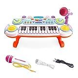 QXMEI Für 1 bis 3 Jahre Alt Baby Tastatur 24 Tasten Tastatur Wiederaufladbar mit Mikrofon (Pink Blau),White