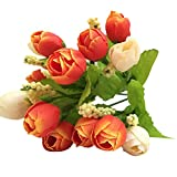 MOSE Home Decor Hot 1 Bunch of 15 Heads Unusual Artificial Rose Silk Fake Flowers Leaf Bridal Bouquet Modern Room Decor Free Size Orange