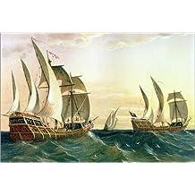 Stampa su tela 30 x 20 cm: The 'Pinta', the 'Nina' and the 'Santa Maria' sailing towards the West Indies in 1492, from The Disc di Spanish School / Bridgeman Images - poster pronti, foto su telaio,...