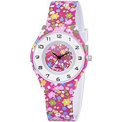 ZEIGER Kinderuhr Mädchen Armbanduhr Quarz Uhr Mädchenuhr Lernuhr Silikon KW015