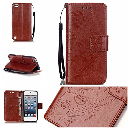 iPhone Case Cover Folio flip Case Stand, Case Wallet avec Cash et fente pour carte haut de gamme PU Housse en silicone en cuir pour iPod Touch5 6 ( Color : Blue , Size : IPod Touch5 6 ) Brown