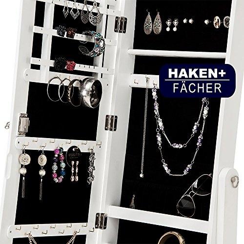 Spiegelschrank weiß + Türgelenk + Schubfächer + schwenkbar - Schmuckschrank Schrankspiegel Standspiegel abschließbar - 4