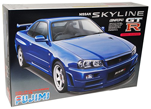 Gtr R34-modell-kit (Nissan Skyline R34 R 34 Gt-r Coupe Blau Bausatz Kit 1/24 Fujimi Modellauto Modell Auto)